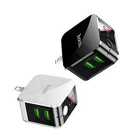 Củ Sạc Nhanh Thông Minh Hoco HK5, Sạc Đầy Pin Tự Động Tắt Nguồn Chống Chai Pin, 2 Cổng Sạc USB 2.4A/5V, Màn Hình Led Hiển Thị Số - Hàng Nhập Khẩu
