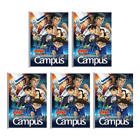 Lốc 5 Cuốn Vở B5 Kẻ Ngang Có Chấm Campus Conan-The First Of Blue Sapphire NB-BCFB200 - ĐL 70 (200 Trang ) - Mẫu Ngẫu Nhiên