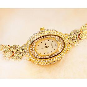 Đồng hồ thời trang nữ  B1 mặt oval dây kim loại đính đá sang trọng
