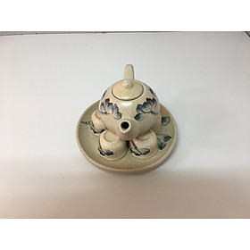 Bộ ấm trà cúng vẽ sen men rạng ( gốm sứ bát tràng cao cấp) Đk: 15cm. Cao: 8cm