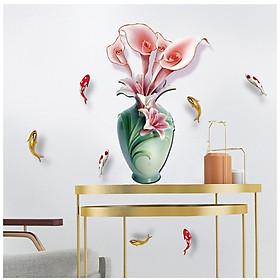 Tranh decal dán tường 3D Hoa và Cá