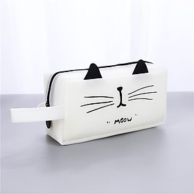 Hộp bút nhựa vuông họa tiết hình mèo - nhiều màu