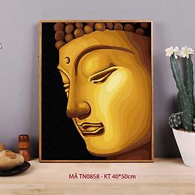 Tranh sơn dầu số hóa tự tô màu nhũ mã TN0858 Tranh màu nhũ ánh vàng hình Phật tổ