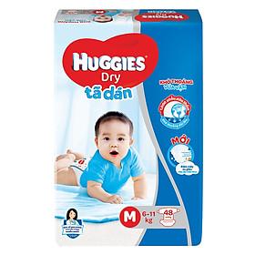 Combo 4 Gói Tã Dán Huggies Dry Gói Đại M48 (48 Miếng) - Bao Bì Mới-1