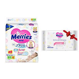 Mua Tã/bỉm dán Merries size S - 82 + 6 miếng (Cho bé 4-8kg) - Tặng 1 Gói khăn ướt chăm sóc da trẻ em 54 miếng