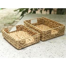 Khay lục bình (bèo) hình chữ nhật đựng đồ, trái cây, sắp xếp trang trí nhà cửa