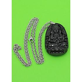 Hình đại diện sản phẩm Vòng cổ phật Thiên Thủ Thiên Nhãn - thạch anh đen 4.3cm DITTEO8 - dây inox - tuổi Tý