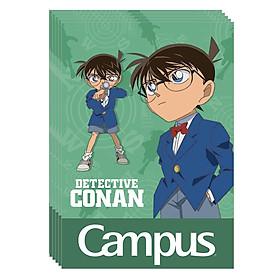 Bộ 5 Vở B5 200 Trang Campus Conan Mystery Kẻ Ngang Có Chấm - NB-BCNM200 - Mẫu 2 - Xanh Lá