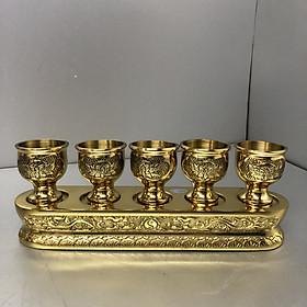 Bộ cúng nước 5 ly bằng đồng vàng nguyên chất ; mẫu ly khắc hoa sen - BH83