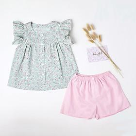 Đồ bộ cho bé gái áo xanh hoa nhí quần hồng set trang phục bé gái từ 1-10 tuổi (8-36kg)