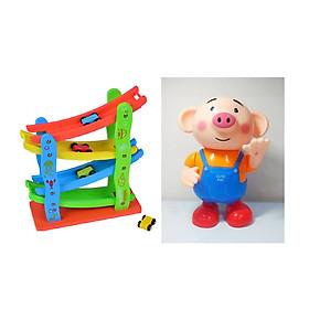 Combo 02 bộ đồ chơi XE CẦU TRƯỢT Ô TÔ và CHÚ HEO BIẾT NHẢY BIẾT HÁT cho bé
