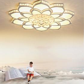 Đèn chùm pha lê phòng khách, đèn mâm ốp trần trang trí - OPLADY0910