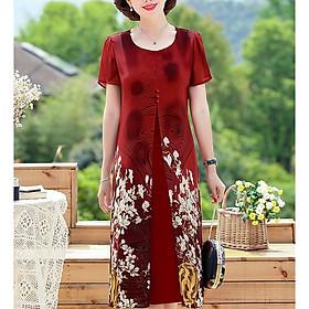 Đầm Váy Trung Niên Dáng Dài Dạng Đầm Suông BigSize Quý Bà Phối 3 Nút In Hoa - Thời Trang Trung Niên Nữ GOTI 3296D