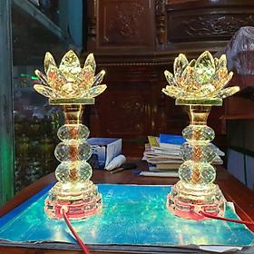 Cặp đèn thờ đá pha lê cao cấp tự động đổi màu cao 22cm