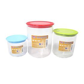 Bộ 3 hộp thực phẩm Hàn Quốc tròn cao cấp Song Long- màu ngẫu nghiên