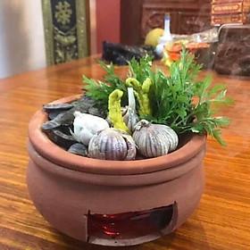 Bếp đất nung xông bồ kết thảo dược - Tặng cột tóc quả bơ