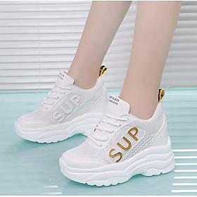 Giày thể thao nữ độn đế 6p viền chữ SUP cực chất