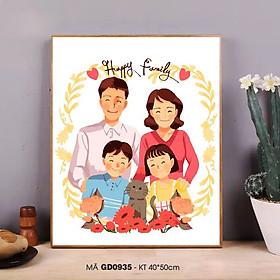 Tranh tô màu số hóa Tranh gia đình hạnh phúc cute đơn giản dễ vẽ GD0935 Happy family