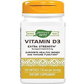 Nature's Way Premium Quality Vitamin D3, 50 mcg per serving, for Bones & Immunity, 120 Count