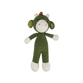 Thú bông bằng len Khủng long Benzamin xanh dáng đứng nhí - sản xuất thủ công handmade in Việt Nam - chất liệu 100% cotton, phù hợp mọi lứa tuổi