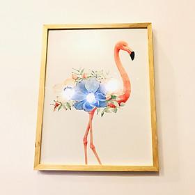 Tranh treo tường gỗ đèn Led Flamingo 35x45cm