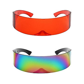 2pcs Futuristic Sunglasses Cyberpunk Narrow Glasses Party Props Eyewear