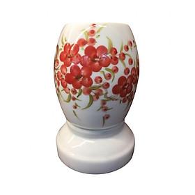 Đèn xông tinh dầu Bát Tràng dáng xoài vẽ hoa đỏ