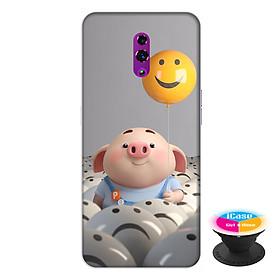 Ốp lưng điện thoại Oppo Reno hình Heo Con Thả Bong Bóng tặng kèm giá đỡ điện thoại iCase xinh xắn - Hàng chính hãng
