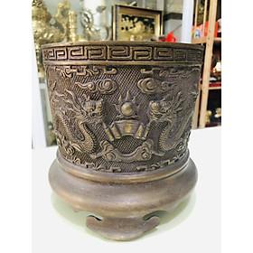 Bát hương thờ cúng bằng đồng hun nâu đường kính 14cm