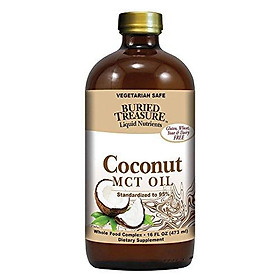 Buried Treasure MCT Coconut Oil for Healthy Brain Function Increased Performance, Keto and Paleo Diet Safe Flash Steamed Medium Chain Triglycerides 16 Ounce (Pack of 1)