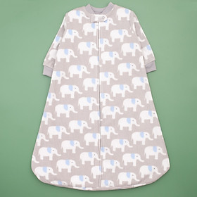 Túi ngủ chất băng lông kéo khóa màu xám hình voi cho bé