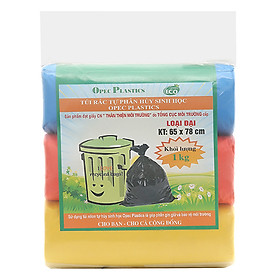 Túi Rác Màu Green Eco Tự hủy sinh học 65 x 78cm x 1kg (Xanh, Hồng, Vàng)