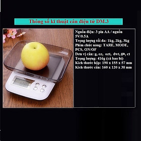 Cân tiểu ly điện tử nhà bếp đa năng DM3 ( Tặng 02 móc treo đồ dán tường nhà bếp đa năng )