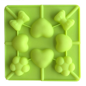 Khuôn silicon làm thạch rau câu, socola 8 tim nơ hoa