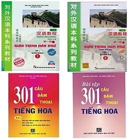 Combo 4 cuốn Học tiếng trung , Giáo trình hán ngữ (tập 1+2 )+ 301 câu đàm thoại tiếng hoa ( khổ 16x24 ) + bài tập 301 câu đàm thoại tiếng hoa
