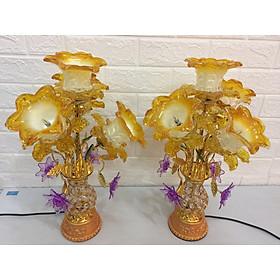 Cặp đèn thờ cúng hoa Tulip cánh thuỷ tinh vàng ,bóng led, đèn chùm 5 bông tiết kiệm điện ( dành cho các ban thờ bàn )