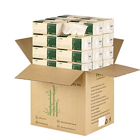 giấy ăn gấu trúc Ycool khăn giấy tre 1 thùng 30 gói 300 tờ siêu dai mềm mại
