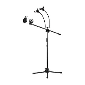 Metal Microphone Floor Stand Tripod Adjustable Height with Boom Arm 3 Mic Holders & 3 Smartphone Holder for Studio