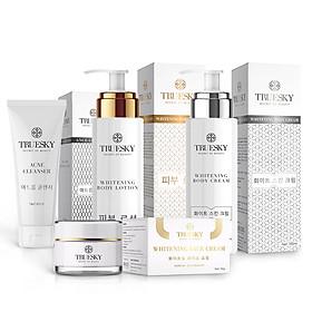 Bộ Truesky VIP03 gồm 1 ủ trắng body 100ml & 1 dưỡng trắng body 100ml & 1 dưỡng trắng da mặt 10g & 1 sữa rửa mặt 60ml