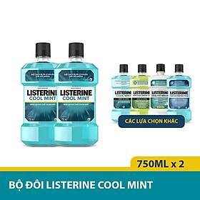 Bộ Đôi Nước Súc Miệng Hương Bạc Hà Listerine Cool Mint (750ml/ Chai) - 8850007800071