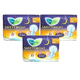 Combo 3 gói Băng Vệ Sinh Ban Đêm Laurier Safety Night chống tràn [40cm-8M]