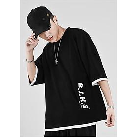 Áo thun nam form rộng unisex tay lỡ in chữ BJHG, chất thun cotton dày dặn thấm hút mồ hôi, thời trang trẻ, phong cách Hàn Quốc