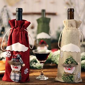 Túi Trang Trí Chai Rượu Vang Họa Tiết Giáng Sinh