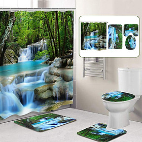 Bath Shower Curtain  Waterfall Bathroom Non-slip Mat Set Lid Toilet Cover Mat