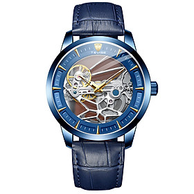 TEVISE Men Automatic Mechanical Watch Analog Chronograph Business Wrist Watch 30M Waterproof Dress Watch Skeleton Dial