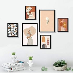 Bộ 06 tranh treo tường Girl with Flower tối giản trang trí phòng khách, phòng ngủ - Tặng kèm đinh ba chân chuyên dụng treo tranh