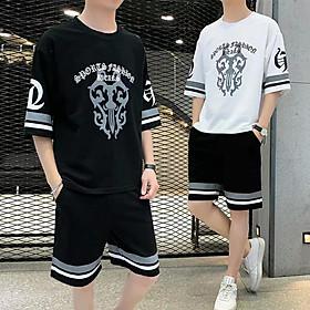 Đồ bộ thể thao nam mua hè kiểu Thái vải thun da cá dày , thoáng mát, co dãn tốt, One Size (45-65kg)