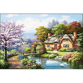 Tranh thêu chữ thập thêu kín Phong Cảnh Ngôi Nhà (96*53cm) chưa thêu-A1188