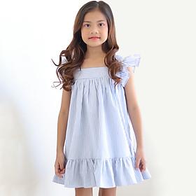 Đầm Bé Gái Xanh Kẻ Cổ Vuông Tay Cánh Tiên K112