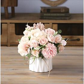 Lọ hoa giả trang trí kèm hoa giả (set gồm hoa và lọ gốm)